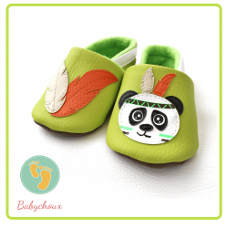chaussons panda indien, chaussons souples, chaussons bébé, chaussons enfant, chaussons fait main